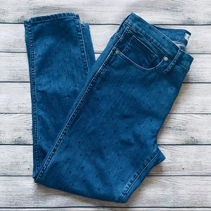 Madewell   Navy Polka Dot Slim Straight Jeans